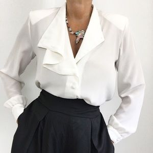 Vintage Classic White Sheer Overlay Blouse